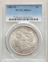 1881-O $1 MS64 PCGS. PCGS Population: (4324/867). NGC Census: (4279/477). CDN: $130 Whsle. Bid for problem-free NGC/PCGS...