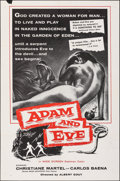 """Movie Posters:Drama, Adam and Eve (William A. Horne, 1958). Folded, Fine/Very Fine. One Sheet (27"""" X 41""""). Drama.. ..."""