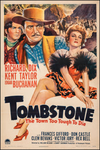 "Tombstone: The Town Too Tough to Die (Paramount, 1942). Fine/Very Fine on Linen. One Sheet (27"" X 41""). Wester..."
