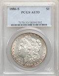 Morgan Dollars: , 1886-S $1 AU53 PCGS. PCGS Population: (301/6937). NGC Census: (197/4140). CDN: $126 Whsle. Bid for problem-free NGC/PCGS AU...