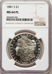 1881-S $1 MS64 Prooflike NGC. NGC Census: (2965/2239). PCGS Population: (3711/2706). MS64