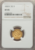 Liberty Quarter Eagles, 1850-C $2 1/2 XF45 NGC. Variety 1....