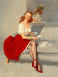 Gil Elvgren (American, 1914-1980) The Ace of Hearts Oil on canvas 33 x 25 in. Signed lower lef