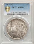 1921-D $1 MS66+ PCGS. PCGS Population: (503/11 and 89/1+). NGC Census: (286/13 and 17/0+). CDN: $450 Whsle. Bid for NGC/...