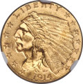 Indian Quarter Eagles, 1914 $2 1/2 MS65+ NGC....