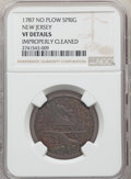 1787 NJERSY New Jersey Copper, No Plow Sprig, -- Improperly Cleaned -- NGC Details. VF. NGC Census: (7/67). PCGS Populat...