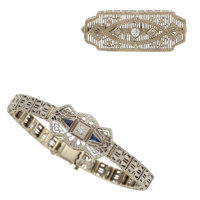Art Deco Diamond, Synthetic Sapphire, White Gold Jewelry