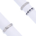 Estate Jewelry:Rings, Diamond, Sapphire, White Gold Rings. ... (Total: 3 Items)
