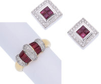 Ruby, Diamond, Gold Jewelry ... (Total: 2 Items)