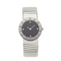 Estate Jewelry:Watches, Bvlgari Lady's Diamond, Stainless Steel Tubogas Watch. ...