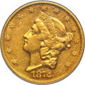 Liberty Double Eagles, 1872-CC $20 AU53 PCGS. CAC. Variety 1-A....