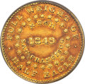 1849 $5 Norris, Gregg, & Norris Five Dollar, Plain Edge, Period After Alloy, AU58 PCGS. CAC. K-2, R.5....(PCGS#...