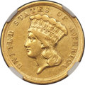 Three Dollar Gold Pieces, 1854-D $3 AU50 NGC. Variety 1-A....