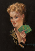 Works on Paper, Bradshaw Crandell (American, 1896-1966). Card Player. Pastel on paper. 26-1/2 x 18-1/2 inches (67.3 x 47.0 cm) (sight). ...