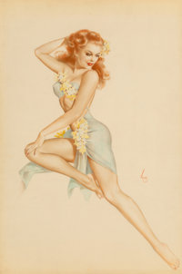 Alberto Vargas (American, 1896-1982) Redhead in Hawaiian costume Watercolor and pencil on vellum