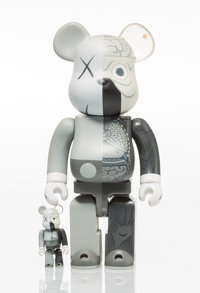 KAWS X BE@RBRICK Dissected Companion 400% and 100% (Grey) (two works), 2010 Painted cast vinyl 10... (Total: 2)