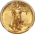 High Relief Double Eagles, 1907 $20 High Relief, Flat Rim, MS67 NGC....