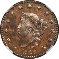 1829 CENT PR64 Brown NGC. N-6, R.6 as a Proof....(PCGS# 37264)