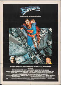"Superman the Movie (Warner Bros., 1979). Folded, Fine/Very Fine. Italian 2 - Fogli (39.25"" X 55""). Action"