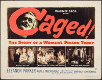 """Caged & Other Lot (Warner Bros., 1950). Rolled, Fine. Half Sheets (3) (22"""" X 28""""). Exploitation. ... (..."""