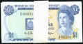 Bermuda Monetary Authority 1 Dollar 1.1.1988 Pick 28d Low Serial Number Pack of 100 Consecutive Notes Crisp Uncirculated...