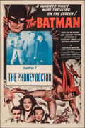 "Movie Posters:Serial, The Batman (Columbia, R-1954). Folded, Very Fine-. One Sheet (27"" X 41"") Chapter 7 -- ""The Phoney Doctor."" Serial.. ..."
