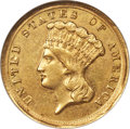 Three Dollar Gold Pieces, 1854-D $3 MS60 NGC. Variety 1-A....