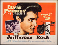 "Jailhouse Rock (MGM, 1957). Folded, Very Fine-. Half Sheet (22"" X 28"") Style B, Bradshaw Crandell Artwork. Elv..."