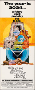 "Movie Posters:Science Fiction, A Boy and His Dog (Aquarius Releasing, 1975). Rolled, Very Fine-. Insert (14"" X 36""). Robert Tanenbaum Artwork. Science Fict..."
