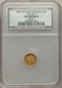 1872 $1 Indian Round 1 Dollar, BG-1207, R.4, -- Bent -- NCS. AU Details. NGC Census: (0/7). PCGS Population: (3/92)...