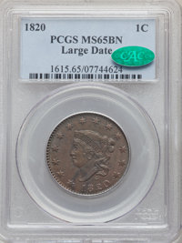 1820 1C Large Date, N-13, R.1, MS65 Brown PCGS. CAC....(PCGS# 36673)