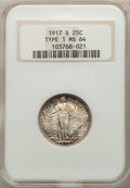 1917-D 25C Type One MS64 Full Head NGC. NGC Census: (345/273). PCGS Population: (583/515). MS64. Mintage 1,509,200. ...(...