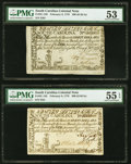 Colonial Notes:South Carolina, South Carolina February 8, 1779 $90 PMG About Uncirculated 55 EPQ and PMG About Uncirculated 53.. ... (Total: 2 notes)