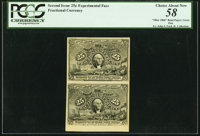 """""""Olier Watermarked Uncut Pair"""" 25¢ Second Issue PCGS Choice About New 58"""