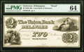 Obsoletes By State:Delaware, Wilmington, DE- Union Bank of Delaware $2 18__ as G4 Proof PMG Choice Uncirculated 64.. ...
