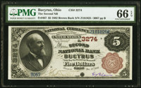 Bucyrus, OH - $5 1882 Brown Back Fr. 467 The Second National Bank Ch. # 3274 PMG Gem Uncirculated 66 EP