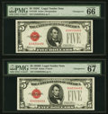Small Size:Legal Tender Notes, Fr. 1528/Fr. 1529 $5 1928C/1928D Legal Tender Notes. Changeover Pair. PMG Gem Uncirculated 66 EPQ and Superb Gem Unc 67 EPQ.... (Total: 2 notes)