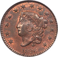 1826 1C N-4, R.2, MS64 Red and Brown PCGS....(PCGS# 36821)