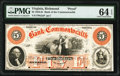 Obsoletes By State:Virginia, Richmond, VA- Bank of the Commonwealth $5 18__ as G2a as Jones-Littlefield BR15-25 Proof PMG Choice Uncirculated 64 EPQ....