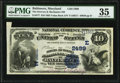 Error Notes:National Bank Note Errors, Baltimore, MD - $10 1882 Value Back Fr. 577 The Drovers & Mechanics National Bank Ch. # 2499 PMG Choice Very Fine 35....