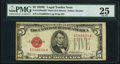 Small Size:Legal Tender Notes, Fr. 1530 $5 1928E Mule Legal Tender Note with Back Plate Number 637. PMG Very Fine 25.. ...