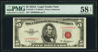 Fr. 1533* $5 1953A Legal Tender Note. PMG Choice About Unc 58 EPQ