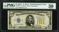 Fr. 2307* $5 1934A North Africa Silver Certificate Star. PMG Very Fine 30