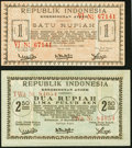 Indonesia Republic Regionals 1; 2 1/2 Rupiah 15.9.1947 Pick S282; S283 About Uncirculated or Better. ... (Total: 2 notes...