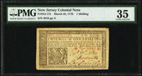 New Jersey March 25, 1776 1s PMG Choice Very Fine 35