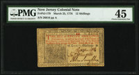 New Jersey March 25, 1776 12s PMG Choice Extremely Fine 45