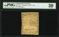 Continental Currency February 17, 1776 $1/2 PMG Very Fine 30
