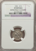 Three Cent Nickels: , 1882 3CN -- Improperly Cleaned -- NGC Details. XF. NGC Census: (13/86). PCGS Population: (22/172). CDN: $200 Whsle. Bid for...