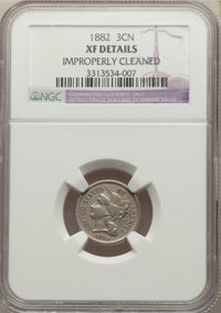 1882 3CN -- Improperly Cleaned -- NGC Details. XF. NGC Census: (13/86). PCGS Population: (22/172). CDN: $200 Whsle. Bid...