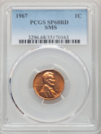 1967 1C SMS SP68 Red PCGS. PCGS Population: (104/0). NGC Census: (0/0). CDN: $105 Whsle. Bid for problem-free NGC/PCGS M...